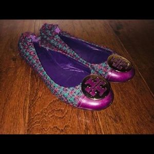 Tory Burch Reva Flat Purple Pink Blue, Size 9.5